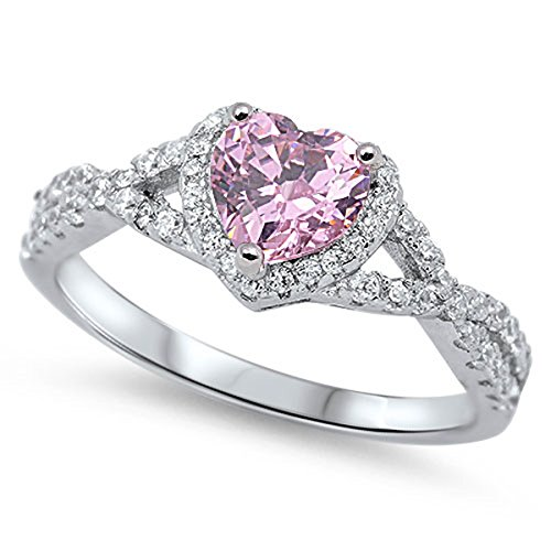 Sterling Silver Women's Flawless Pink Cubic Zirconia Micro Pave Heart Ring (Sizes 4-12) (Ring Size 8) (Micro Pave Heart)