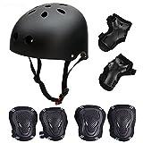 Skateboard / Skate Protection Set with Helmet--SymbolLife Helmet with 6pcs Elbow Knee Wrist Pads for Kids BMX/ Skateboard / Scooter, For Head M (58-60cm) Black