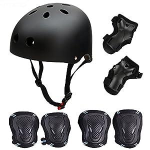 SymbolLife Skateboard / Skate Protektoren Set mit Helmet -- Skate Helmet Knie...