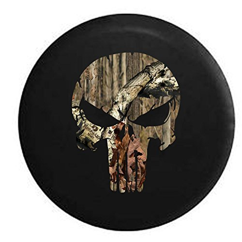 American Unlimited Spare Tire Cover Camo - Cracked Punisher Skull with Angry Eyes Fits Jeep JK Camper RV 33 in
