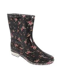 Universal Textiles Womens/Ladies Floral Wellington See-Through Heel Boot