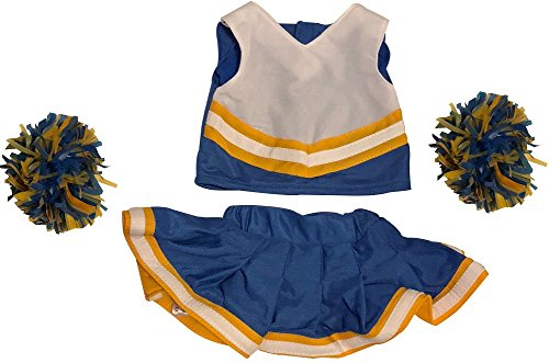 American Teddy Bear (Cheerleader Outfit Teddy Bear Clothes Fit 15 inch Build-A-Bear, Vermont Teddy Bears, American Girl Doll and Make Your Own Stuffed Animals (Royal Blue And Gold))