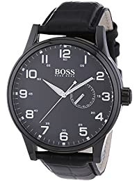 Hugo Boss Black Dial Black Leather Mens Watch 1512833 Price