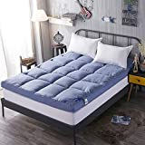 YQ WHJB Tatami Mattress,Non-Slip Mattress Pads,Thicken Foldable Japanese Overfilled Hotel Soft Solid Color Hypoallergenic Mattress-Toppers-Blue 100x200cm(39x79inch)
