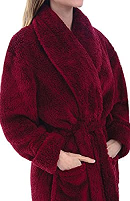 Alexander Del Rossa Womens Solid Colored Fleece Robe, Plush Microfiber Bathrobe
