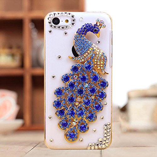 Water & Wood 1pcs Luxury Glitter Rhinestone Blue Peacock Transparent Clear Back Case Cover for iPhone 5C