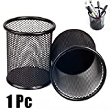 Picama Durable Desk Cylinder Iron Mesh Pen Pot Case Container Holder Office Supplies