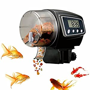Automatic Fish Feeder, FMJI Aquarium Tank Fish Feeder Programmable Timer Feeding Dispenser for Weekend/Holiday/Vacation (2005 D, Black) 6