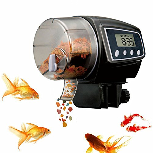 Automatic Fish Feeder, FMJI Aquarium Tank Fish Feeder Programmable Timer Feeding Dispenser for Weekend/Holiday/Vacation (2005 D, Black) by Fmji