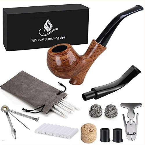 Joyoldelf Rosewood Tobacco Smoking Pipe Set - Wooden Pipe with Standing Leg Holder by Joyoldelf