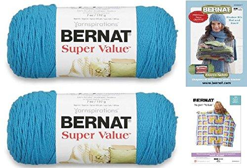 Bernat Crochet Patterns (Bernat Super Value Med (4) Weight Yarn, 7 Oz (2-Pack) With 2 Bernat Patterns (peacock))