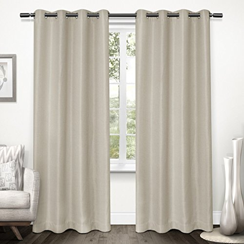 Home Linen Window Panel (Exclusive Home Curtains Tweed Textured Linen Woven Blackout Grommet Top Window Curtain Panel Pair, Natural, 52x96)