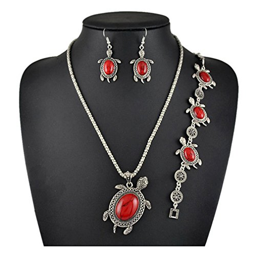 14kt Byzantine Design (G&T Lady Retro Turquoise Necklace Bracelet Earring Sets Three Piece American Style Jewelry(C2))