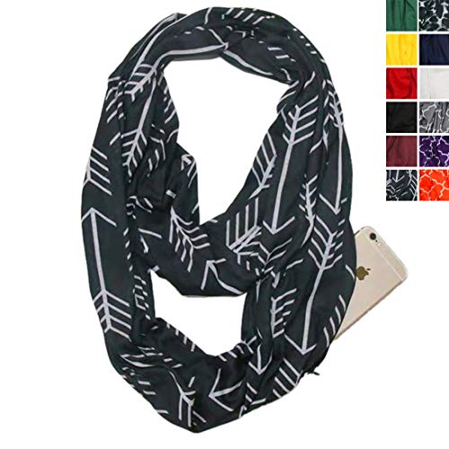 (Infinity Scarf With Zipper Pocket For Women Girls - Convertible Soft Stretchy Travel Scarves (Black White-Arrow))