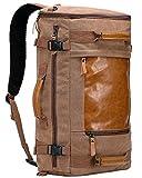 WITZMAN Men Vintage Canvas Rucksack Travel Duffel Backpack Retro Hiking Bag 2063 (22 inch Brown)