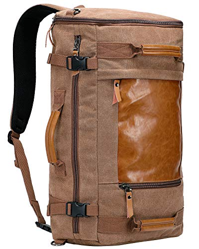 WITZMAN Men Vintage Canvas Rucksack Travel Duffel Backpack Retro Hiking Bag 2063 (22 inch Brown)