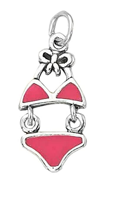 Sterling Silver Girls .8mm Box Chain Moveable Pink Enameled Bikini Pendant Necklace