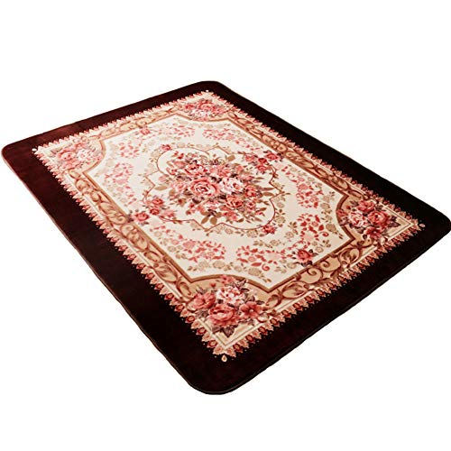 (MeMoreCool Area Rugs Roses Coffee European Style Living Room/Bedroom Anti-Slip Rugs 59 X 79)