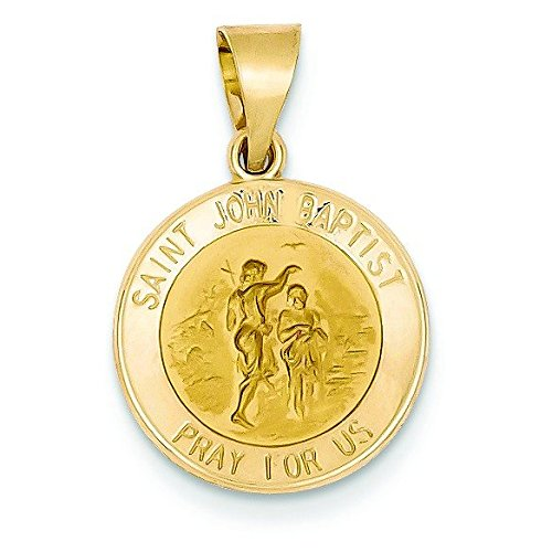 Satiné poli 14 carats et St. John Baptiste JewelryWeb médaille pendentif