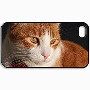 Customized Cellphone Case Back Cover For iPhone 4 4S, Protective Hardshell Case Personalized Cat Muzzle Sad Heart Collar Black