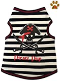 "Cheap ""Pirate Pup"" Skull & Crossbones Nautical Striped Tank Shirt and Pin- Dog Sizes XS thru L (Large – Chest 18″-20, Neck 16″, Black)"