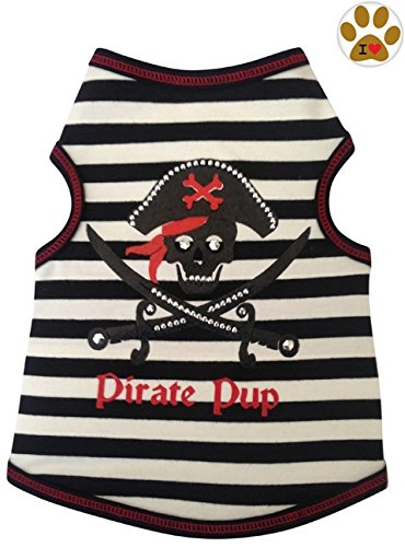 I See Spot Pirate Pup Skull & Crossbones Nautical Striped Tank Shirt and Pin- Dog Sizes XS Thru L (X-Small - Chest 8-10