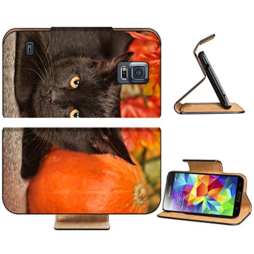 Luxlady Premium Samsung Galaxy S5 Flip Pu Leather Wallet Case IMAGE 23580334 Black cat with orange pumpkins and autumn