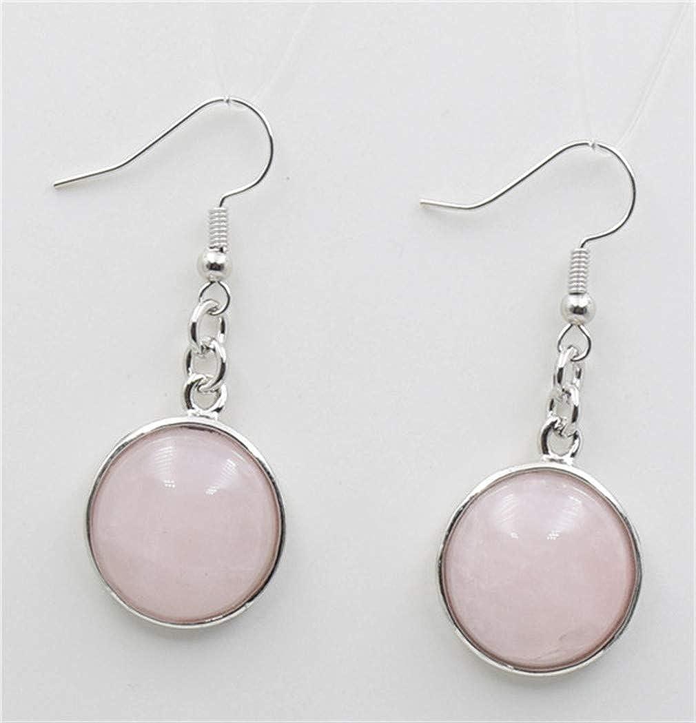 Aya611 Pendientes Colgantes Redondos De Piedras Preciosas Naturales Para Mujer Turquesas Amatistas De Ópalo Lapislázuli Pendientes Colgantes De Cuarzo De Cristal Rosa
