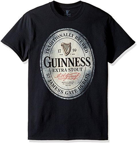 Guinness Men's Traditionally Brewed T-Shirt, Black, Small
