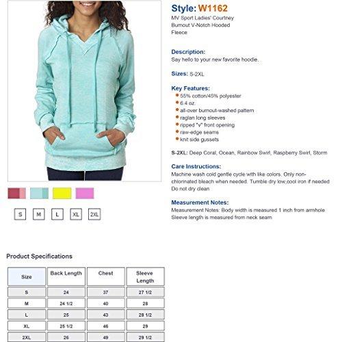 Weatherproof Ladies Burnout Hooded Pullover Fleece Burnout Hoodies Colorful Hoodies LARGE CORAL-BAHAMA