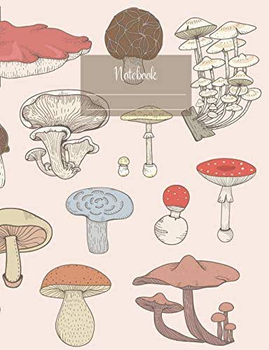 """Notebook: Composition Notebook. College ruled with soft matte cover. 120 Pages. Perfect for school notes, Ideal as a journal or a diary. 9.69"""" x 7.44"""". Great gift idea. (Mushroom sorts cover)."""