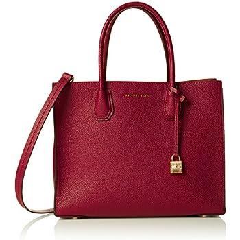 a0b4ea9262d2 MICHAEL Michael Kors Womens Mercer Leather Convertible Tote Handbag Red  Medium