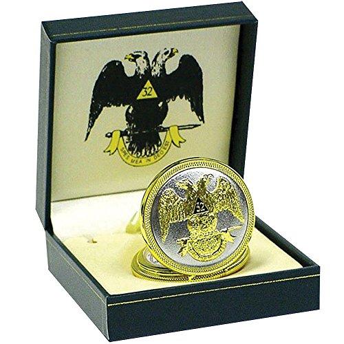 Masonic Pocket Watch - Goldtone Finish w/Freemason Icons On Face & Case