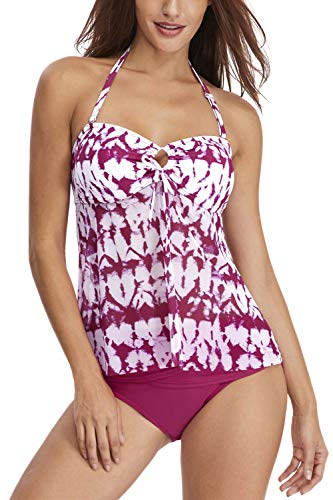 (RIGHR Women's Halter Two Piece Swimsuits Front Tie Bathing Suits Flowy Mesh Tankini with Briefs Rose Red)