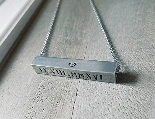Horizontal Bar Necklace chain 18 inch Personalized Necklace Custom Necklace