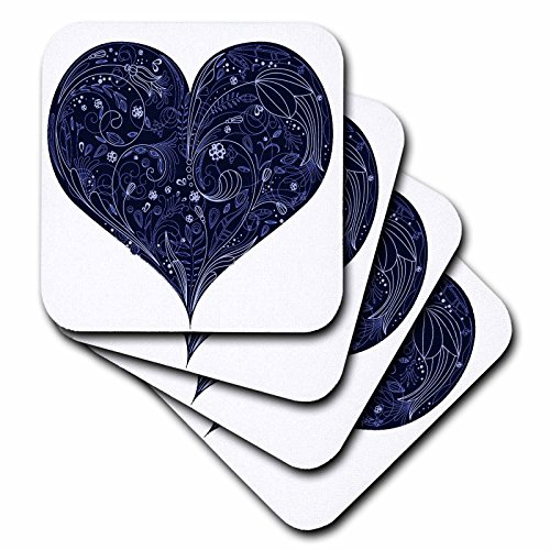 3dRose CST_78399_1 Large Blue Heart with Lacey Flower Center on a White Background Soft Coasters, Set of 4