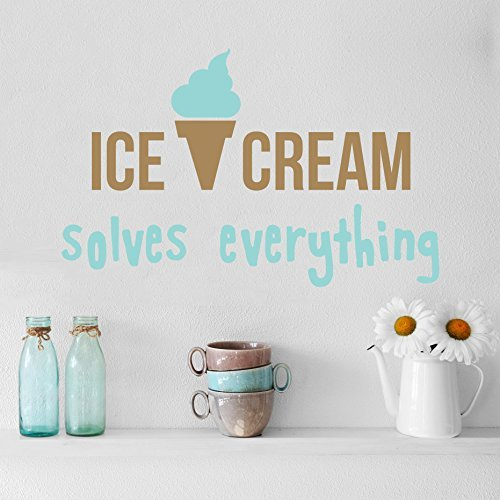 Quote Ice Cream Solves Everything Wall Decals Vinyl Lettering Stickers Cafe Kitchen Removable Decor Home Interior Design Dining Room Art Ideas Mural AR153