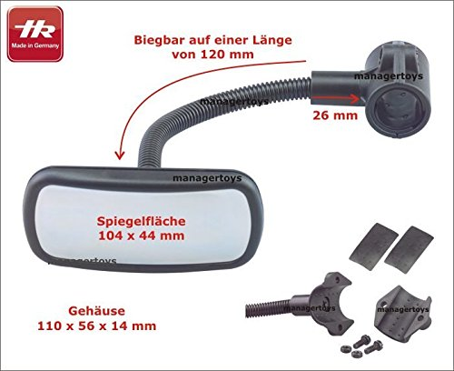 HR Imotion HR 10411101 Bicycle rear view Mirror 55 x 115 x 210 mm/2,2 x 4,6 x 8,1 inch - with adjustable gooseneck Made in Germany by HR Imotion (Image #6)