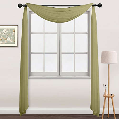 NICETOWN Sheer Curtains Panels for Bedroom - Soft Voile Scarf Valance Window Treatment Drape (One Panel, W60 x L216, Sage Green) (Voile Green Curtains)
