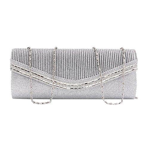 Wedding Women Pleated Glitter Handbag Snap Crystal Flap Black Damara 1ZYqnHTwY