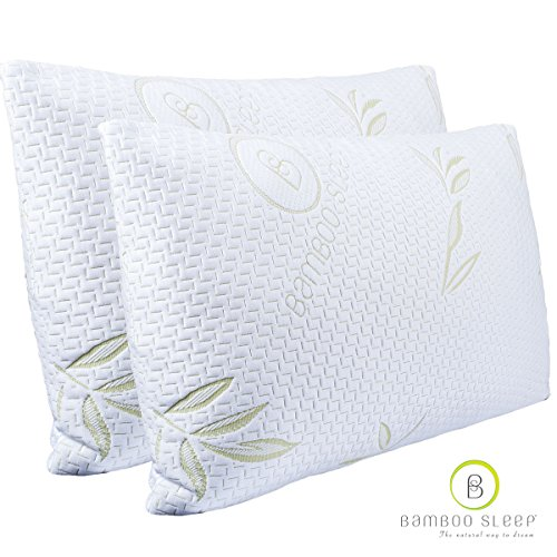Bamboo-Sleep-Ultra-Cool-Bamboo-Memory-Foam-Pillow-Hypoallergenic-Washable-Cover-Queen-Size-2-Pack