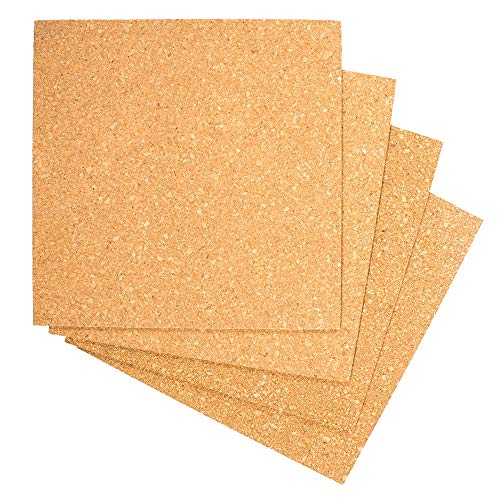 Craft County Standard Project Cork - Perfect for DIY Coasters, Bulletin Boards, and Artistic Pieces (4 X Cork Tiles)