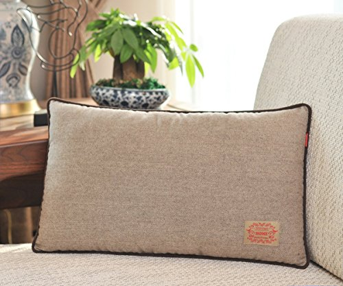 Shinnwa Wool Polyester Double-faced Same Design Fishbone Decorative Throw Pillow Case Cushion Covers for Couch, Brown, 12