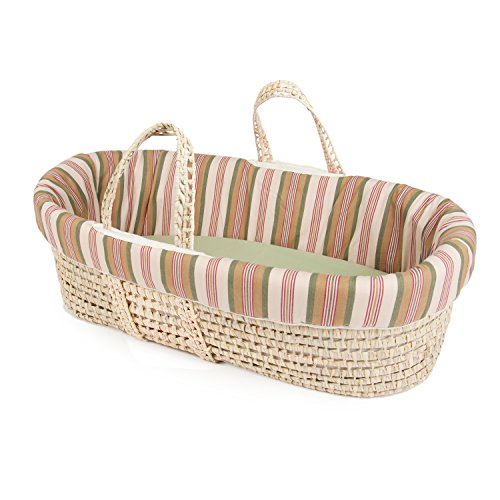 Basket Moses Cotton Stripes (Tadpoles Moses Basket and Bedding Set, College Stripe, Green, one-size)