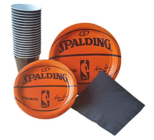 Spalding Basketball Party Supplies Pack for 18 Guests - Including Dinner Plates, Dessert Plates, Plastic Cups, and (Themed College Parties)