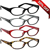 Reading Glasses 4 Pack Black Red Tortoise & Grey _ Always have a Stylish Look & Crystal Clear Vision When You Need It! _ Comfort Spring Arms & Dura-Tight Screws _ 180 Day Guarantee + 3.50
