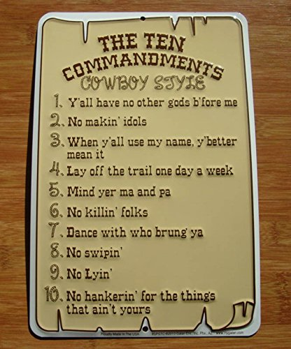The Ten 10 Commandments Cowboy Style Horse Ranch Rope Sign Farm Home Decor