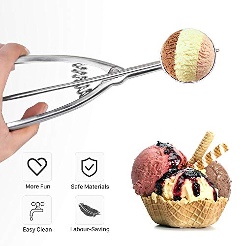 EVQ Ice Cream Scoops - Cookie Scoop for Baking Cookie Swedish Meatballs Cupcakes Muffins - ProfessionaI Heavy Duty Professional Ice Cream Scoop 18/8 Stainless Steel (16# Large)