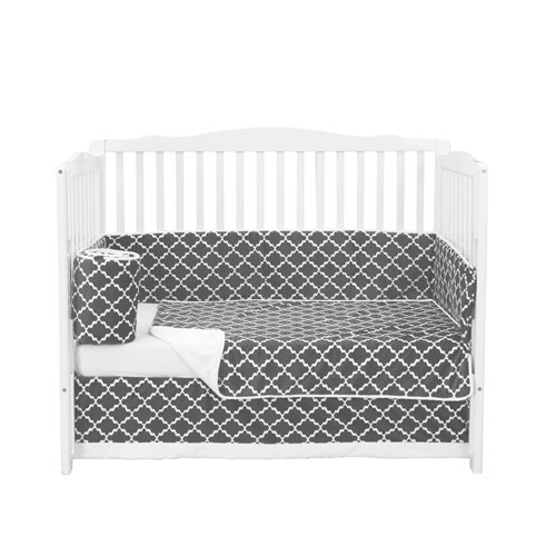 Babydoll BKB Lattice Crib Bedding Set, Grey