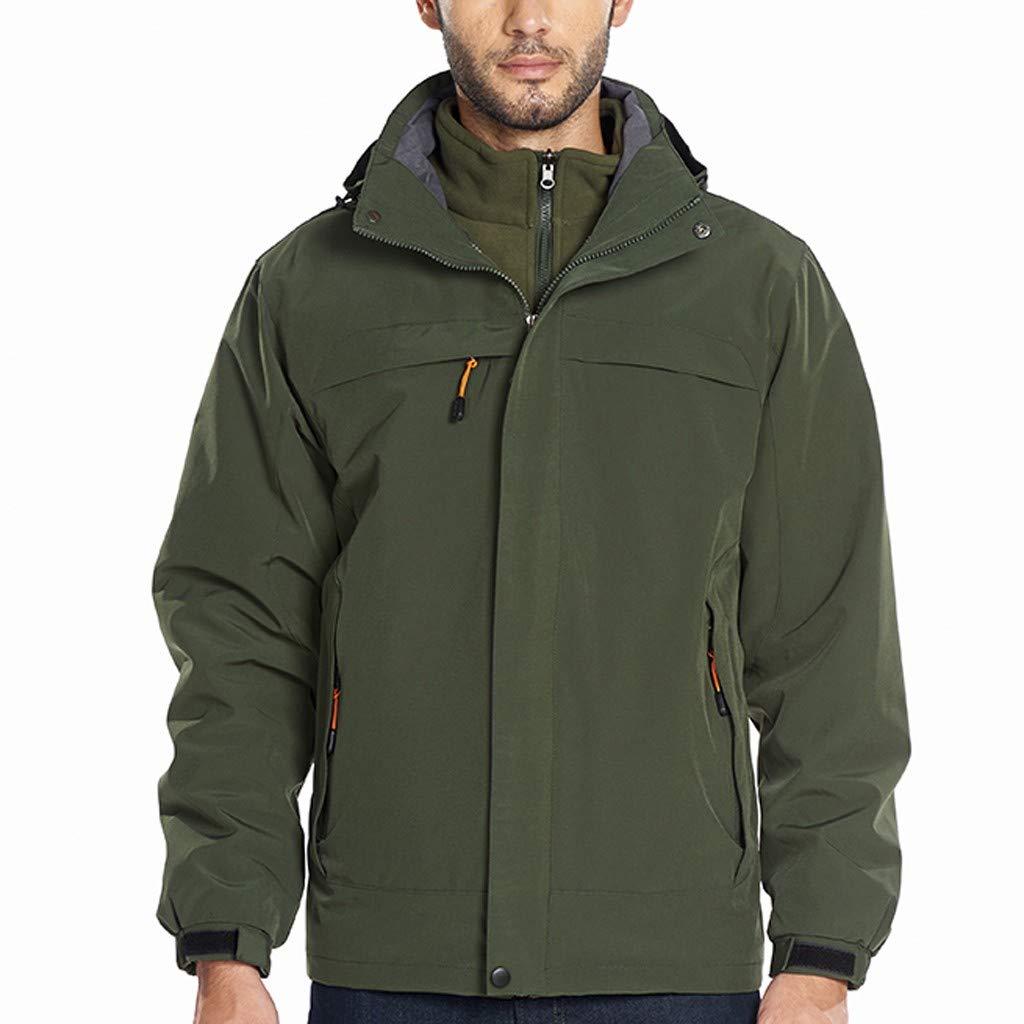 Men's Lightweight Windproof Outdoor Jacket Winter Ski Jacket Windbreaker Hooded Rain Coat (Army Green, XXXXXL) by Jieou